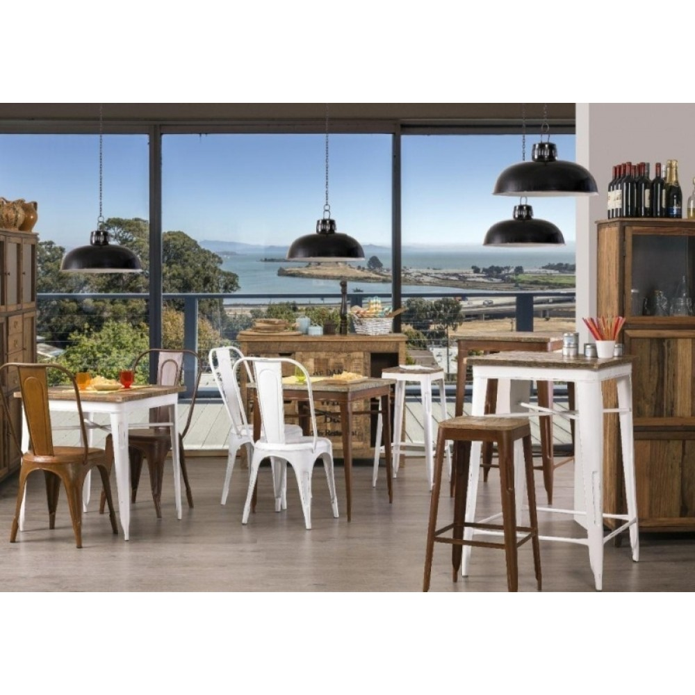 Tavolo Bianco Stile Provenzale.Tavolo Legno E Ferro Industrial Bianco Etnic Outlet Arredamento
