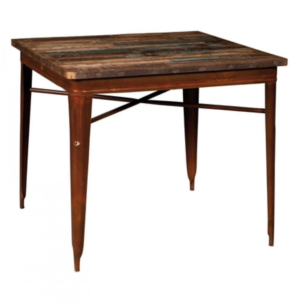 Top Marrone E Tavolo Legno: Tavolo alto in legno marrone e ferro nero con poggiapiedi. Lampada ...