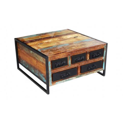 Tavolino con baule vintage industrial