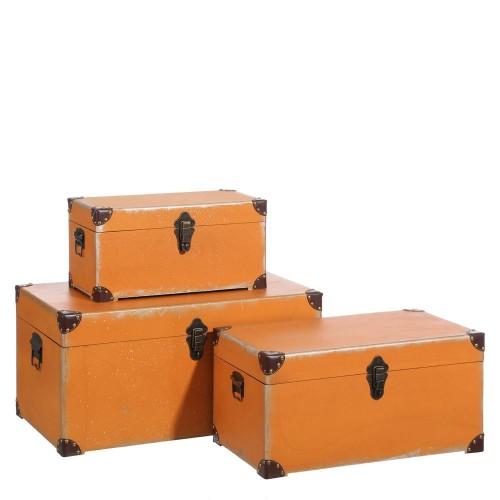 Set 3 bauli vintage arancio
