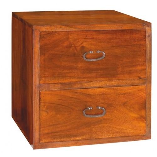 Cubo legno massello 2 cassetti