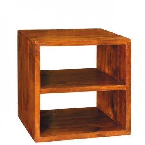 Cubo legno massello con ripiano