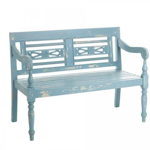 Divanetto legno azzurro shabby