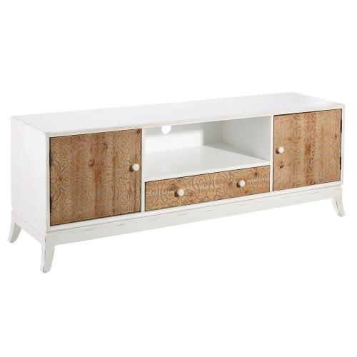 Porta Tv francese legno naturale intarsiato