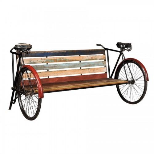 Panca industrial bike legno e ferro
