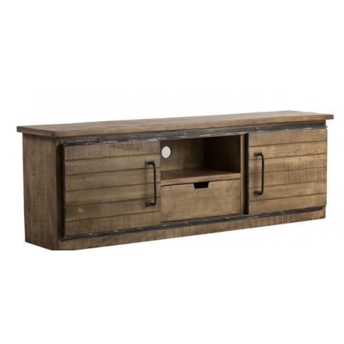 Porta TV industrial legno massello e ferro