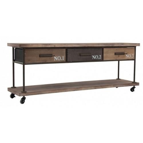 Porta TV industrial legno abete e ferro