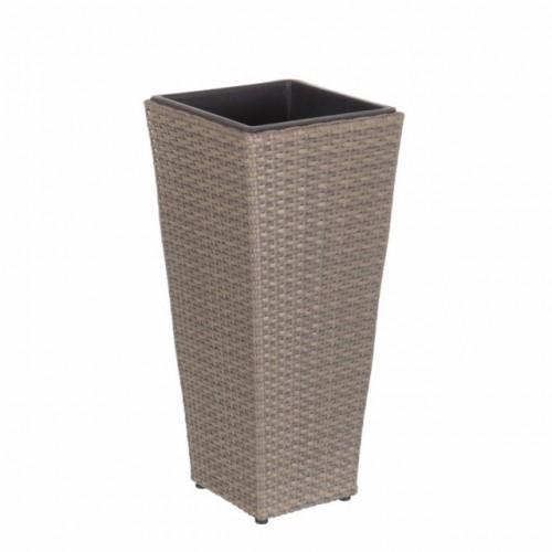Portavaso polyrattan grigio