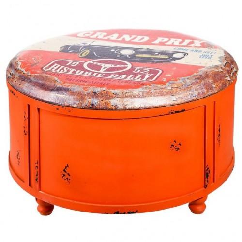 Pouff contenitore vintage rosso