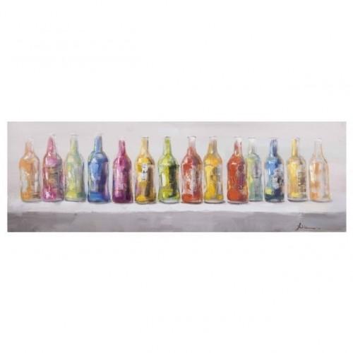 Quadro etnico su tela bottiglie