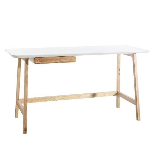 Scrivania legno naturale e bianco