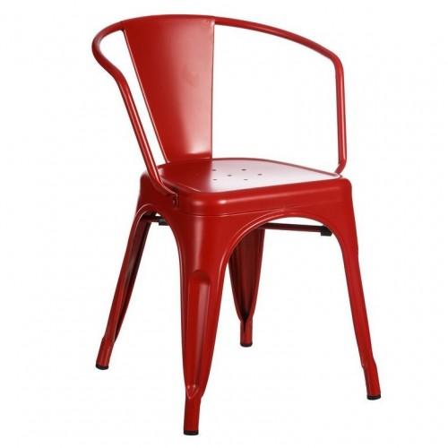 sedia con braccioli industrial chic rossa