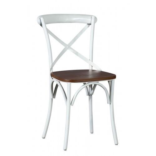 Sedia cross bianco shabby