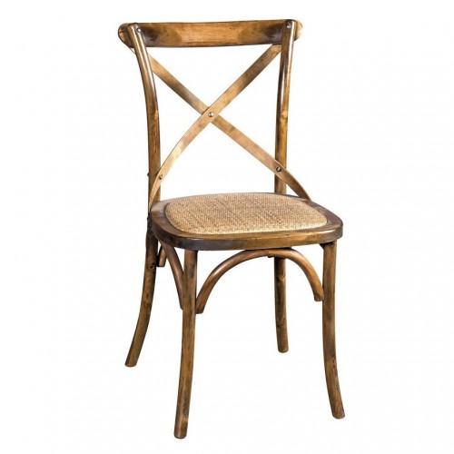 Sedia cross legno noce