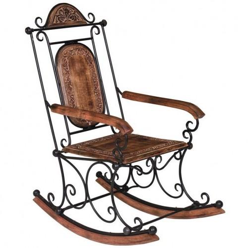 Sedia a dondolo legno e ferro