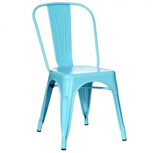 Sedia industrial chic azzurra