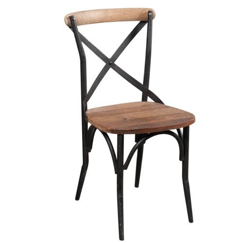 Sedia cross legno e ferro