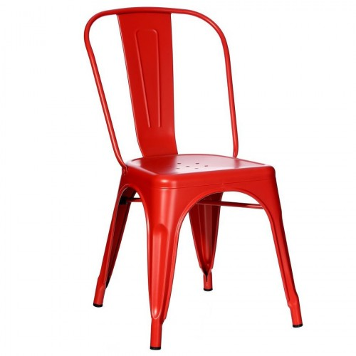 Sedia industrial chic rossa metallo