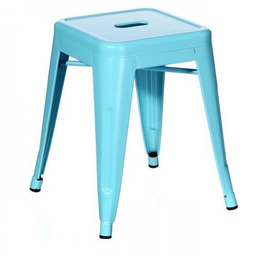 Sgabello industrial chic azzurro