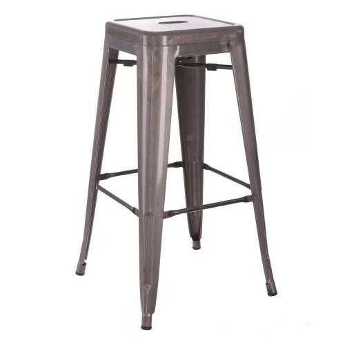 Sgabello alto industrial chic argento