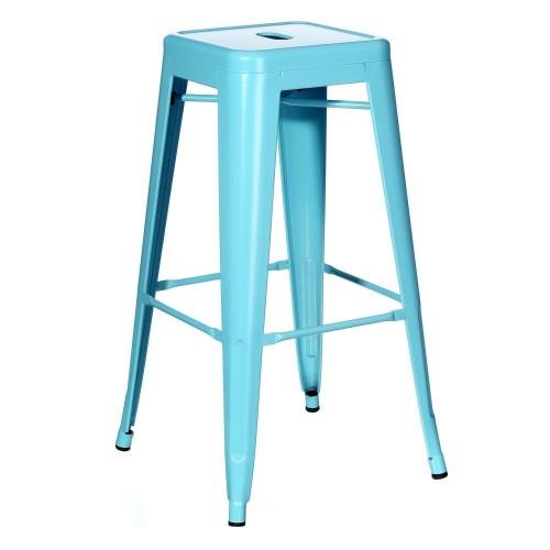 Sgabello alto industrial chic azzurro