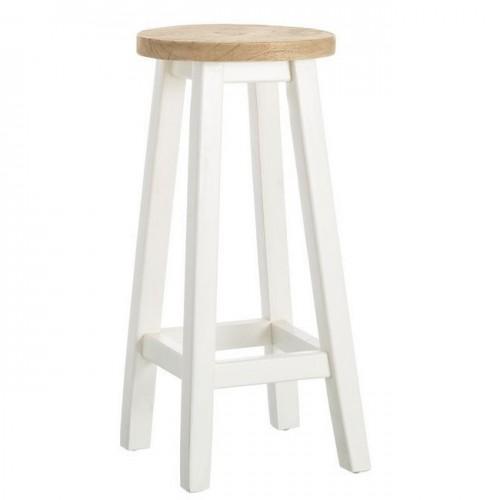 Sgabello alto bianco legno shabby