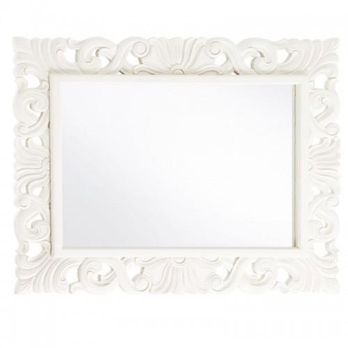Specchio legno bianco coloniale intarsiato