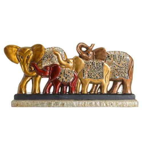 Statua etnica legno elefanti