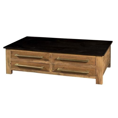 Tavolo basso industrial con cassetti