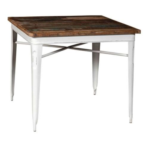 Tavolo legno e ferro industrial bianco