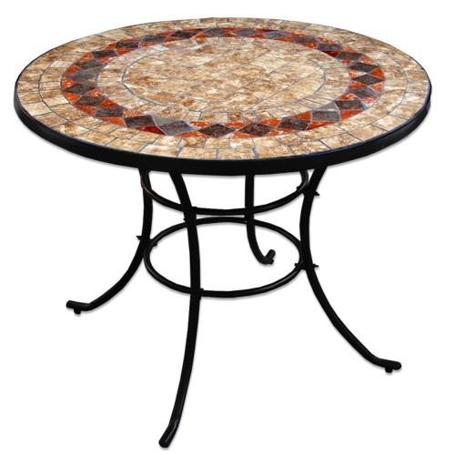 Tavolo rotondo con ceramica