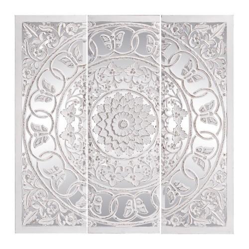 Trittico murale bianco shabby con specchio