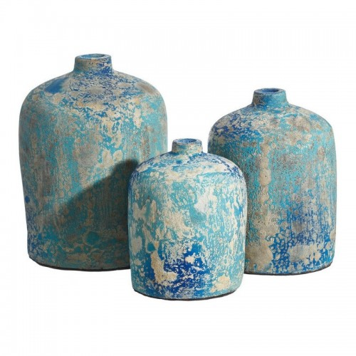 Portafiori set 3 PZ ceramica azzurro antico