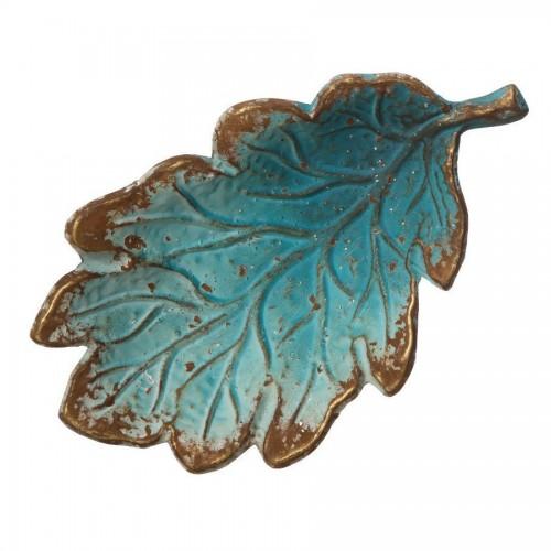 Centro tavola metallo azzurro oro antico
