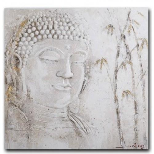 Quadro viso buddha bianco