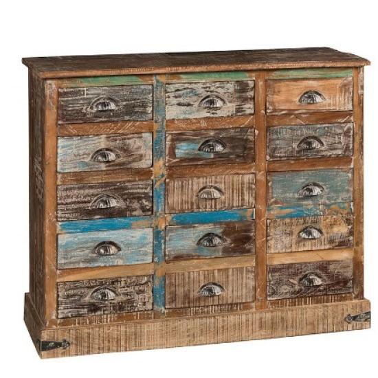 Cassettiera vintage legno riciclato online Etnic Outlet Arredamento ...