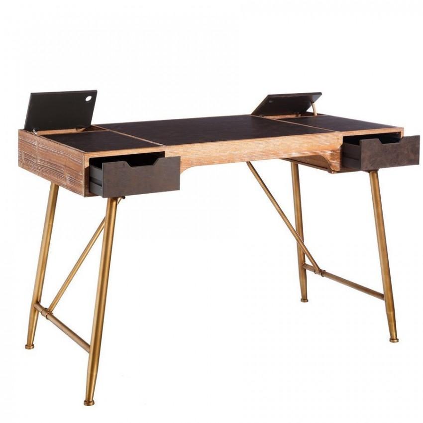 Scrivania ufficio vintage legno etnic outlet arredamento for Outlet arredo ufficio