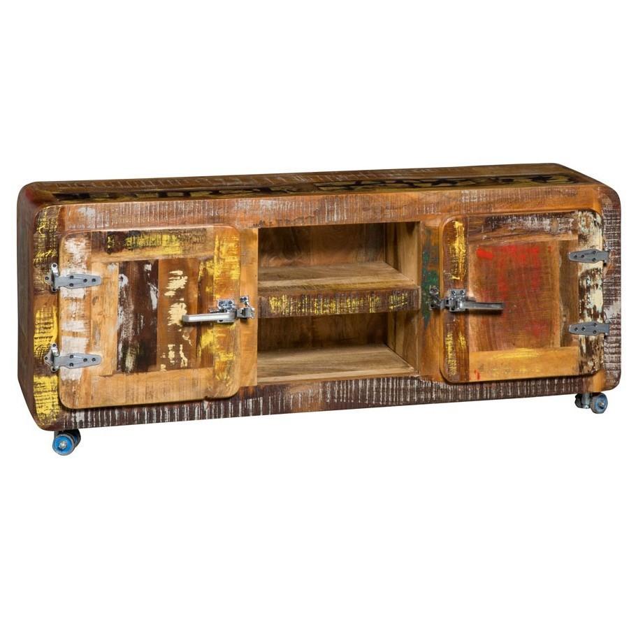 Porta tv etnico legno massello stile industriale Etnic Outlet ...