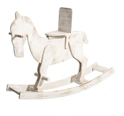 Cavallo dondolo legno bianco shabby