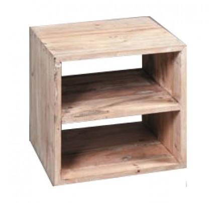 Cubo legno bianco shabby con ripiano