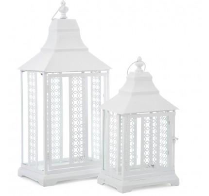 Lanterna bianca intarsiata piccola
