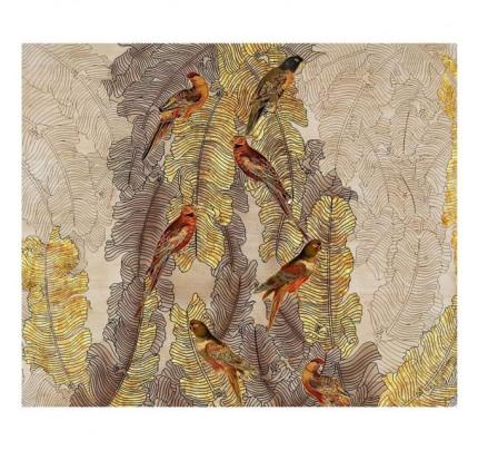 Murale in legno pappagalli