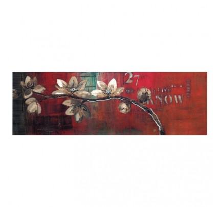 Dipinto ramo con fiori su tela