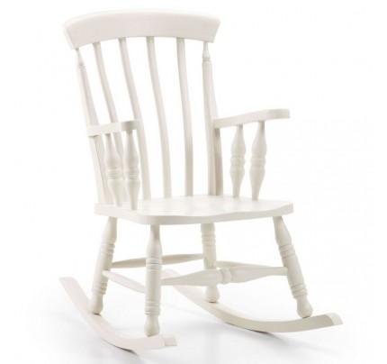Sedia dondolo legno bianco coloniale