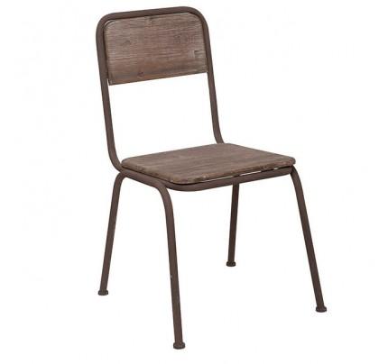 Sedia ferro marrone e legno