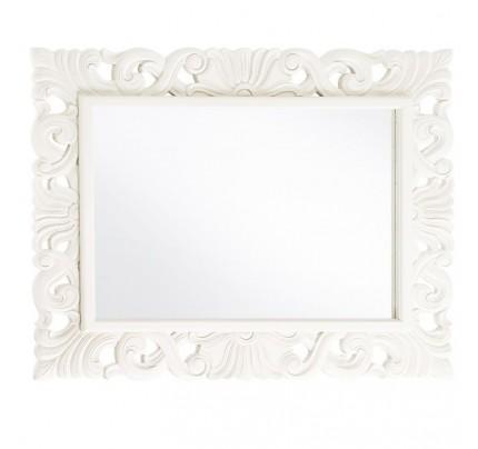 Specchio bianco coloniale intarsiato