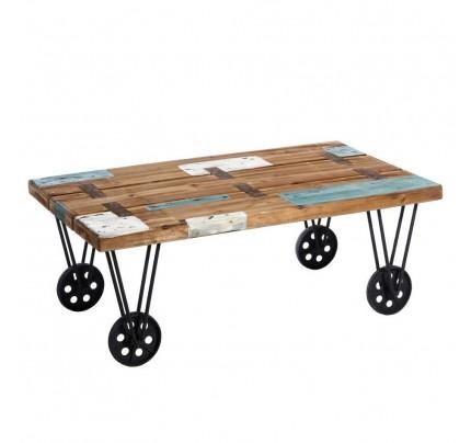 Tavolino salotto industrial chic azzurro bianco