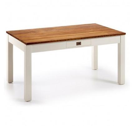 Tavolo coloniale bianco mogano