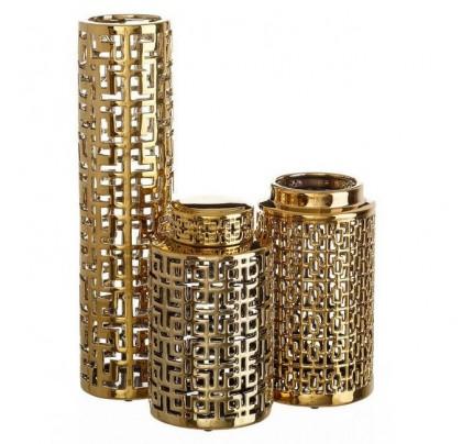 Vasi Portafiori set 3 PZ oro ceramica
